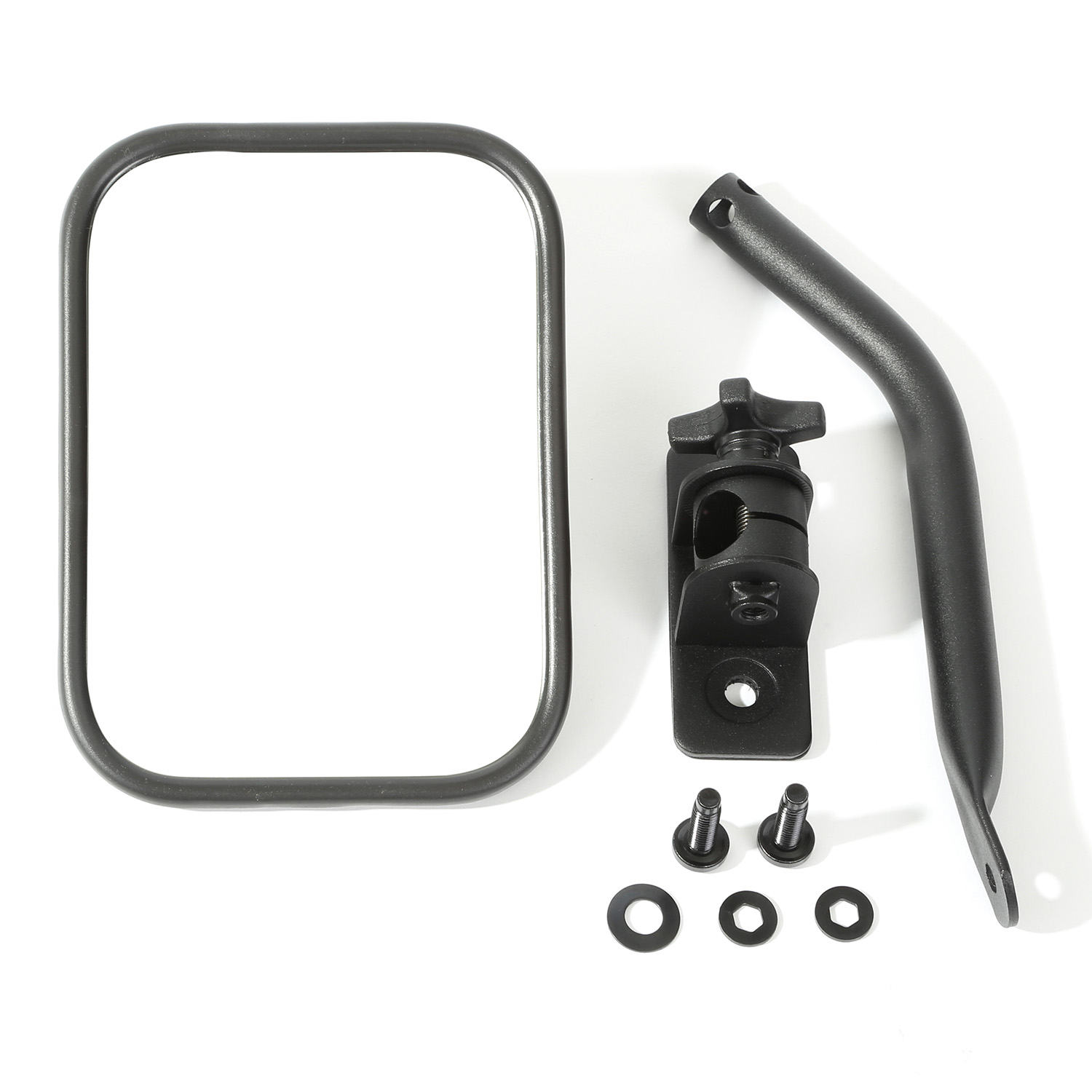 Quick Release Mirror Textured Black Rectangular 97-15 Jeep Wrangler x 11025.14