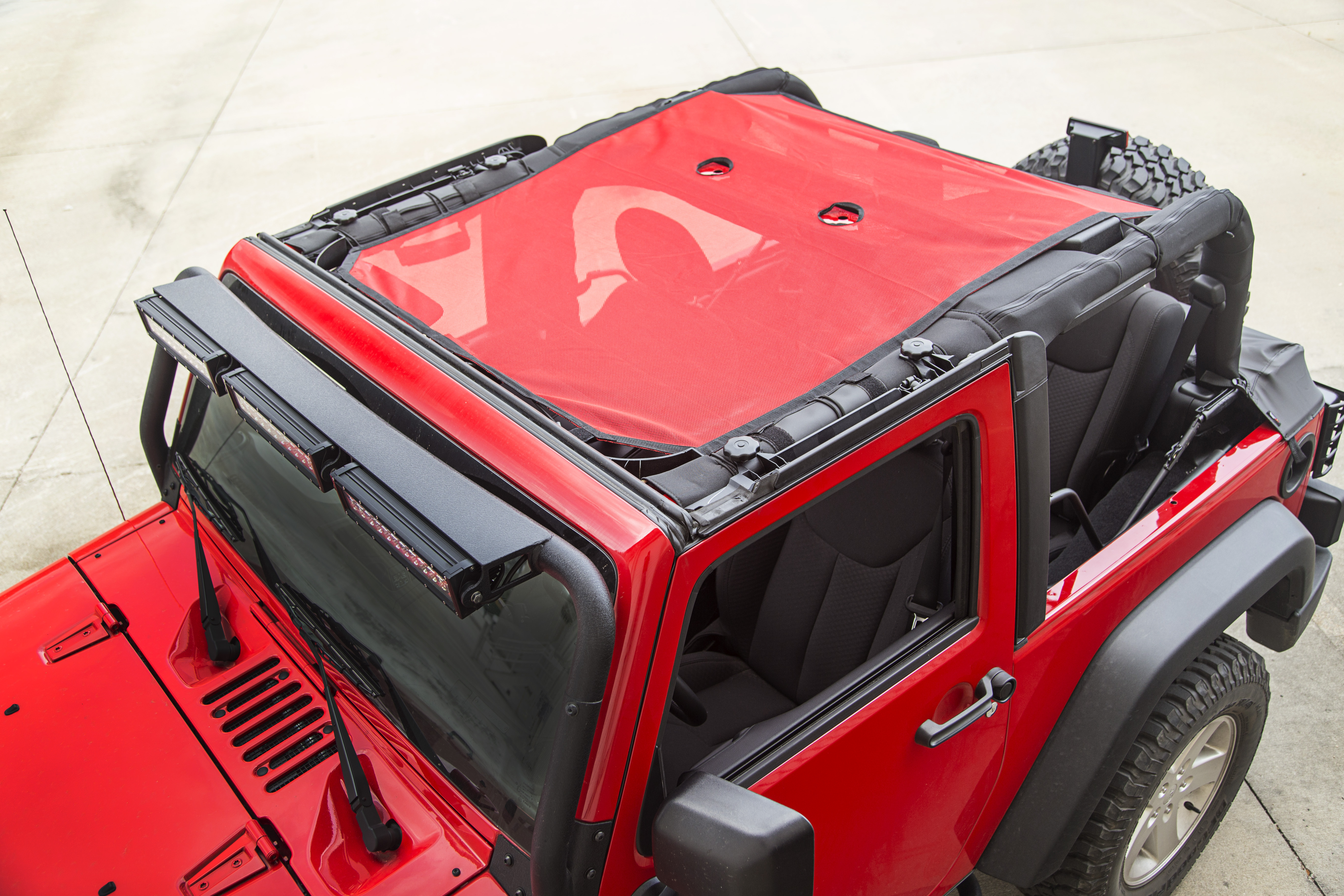 rugged ridge eclipse sun shade red mesh 07