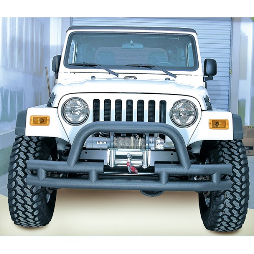 Double Tube Bumper Front 3 Inch Hoop Winch Ready 1976 To 2006 CJ/YJ/TJ<br>Get FREE X-Clamp/LED kit (15210.91) with Select Tube Bumpers