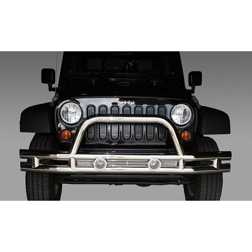 Tube Bumper Front 3 Inch Stainless Steel 2007 To 2018 Jeep Wrangler JK<br>Get FREE X-Clamp/LED kit (15210.32) with Select Tube Bumpers