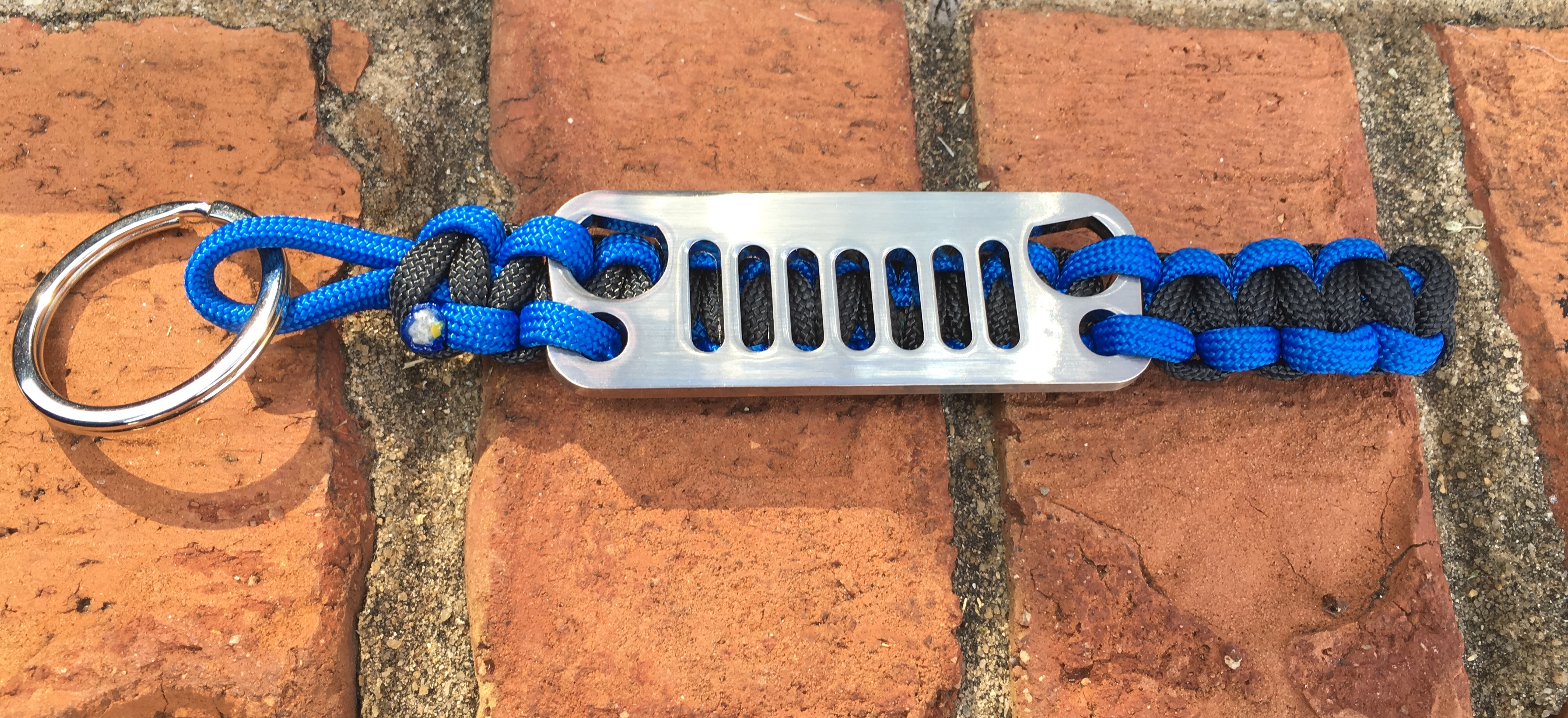 Jeep Grille Paracord Keychain in Blue and Black