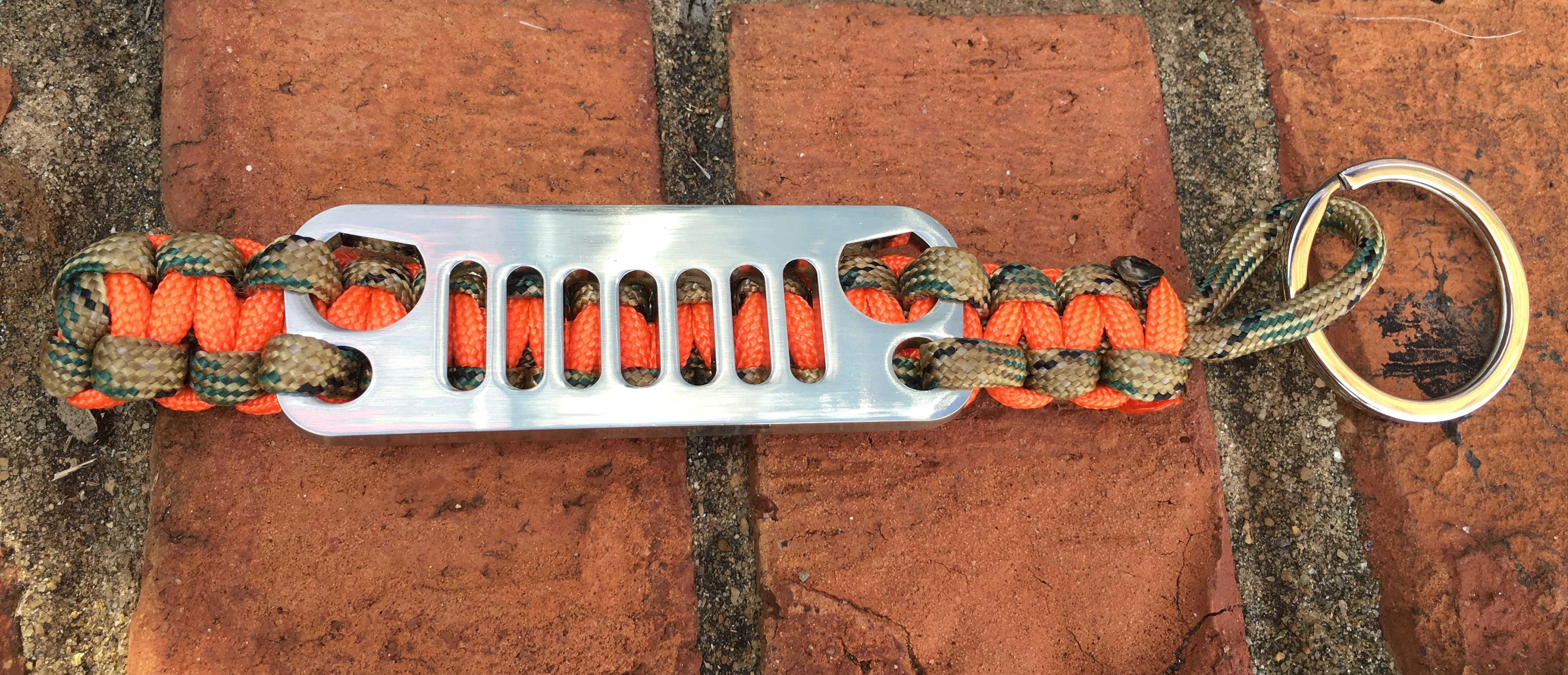 Jeep Grille Paracord Keychain in Camo and Orange