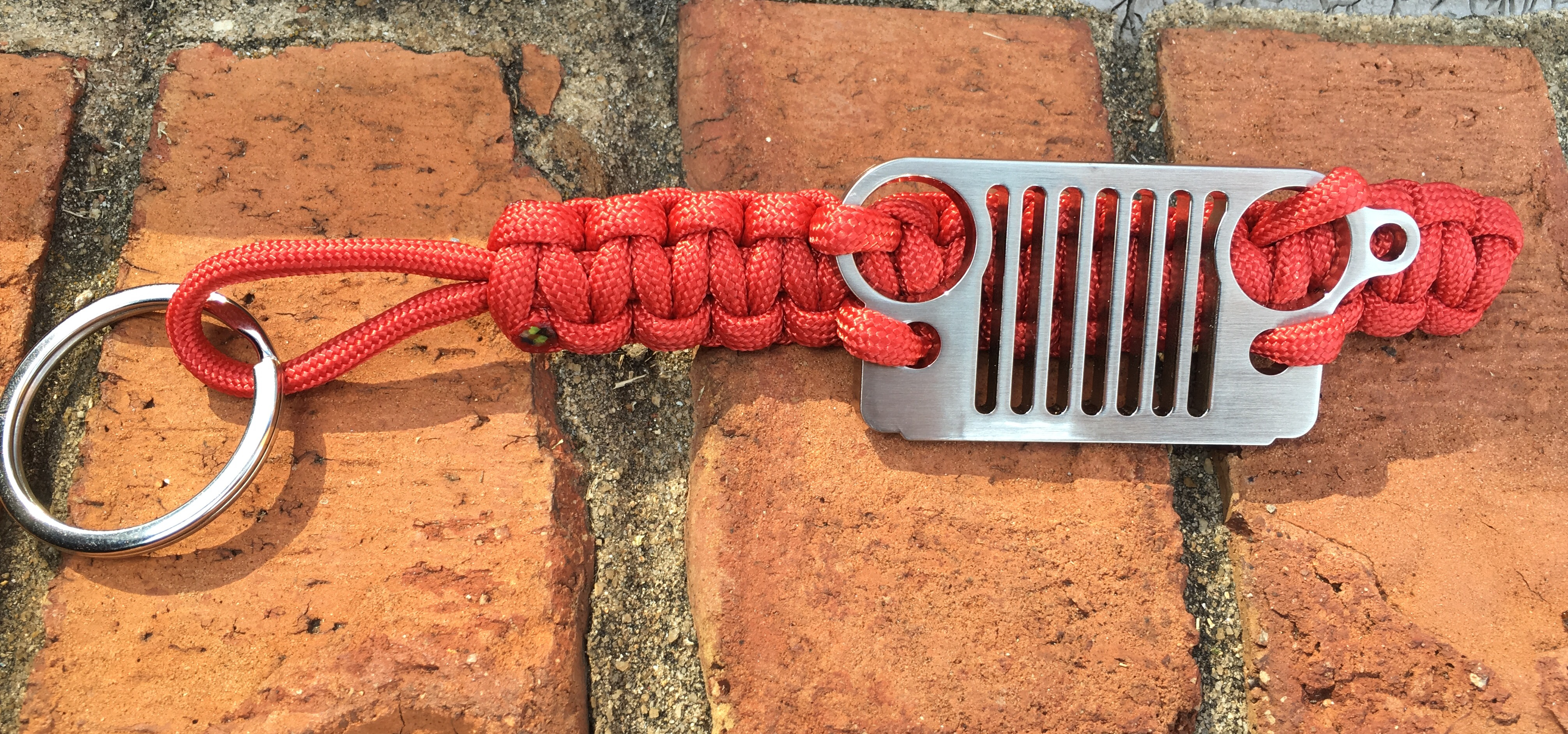 Jeep CJ Grille Paracord Keychain in Red