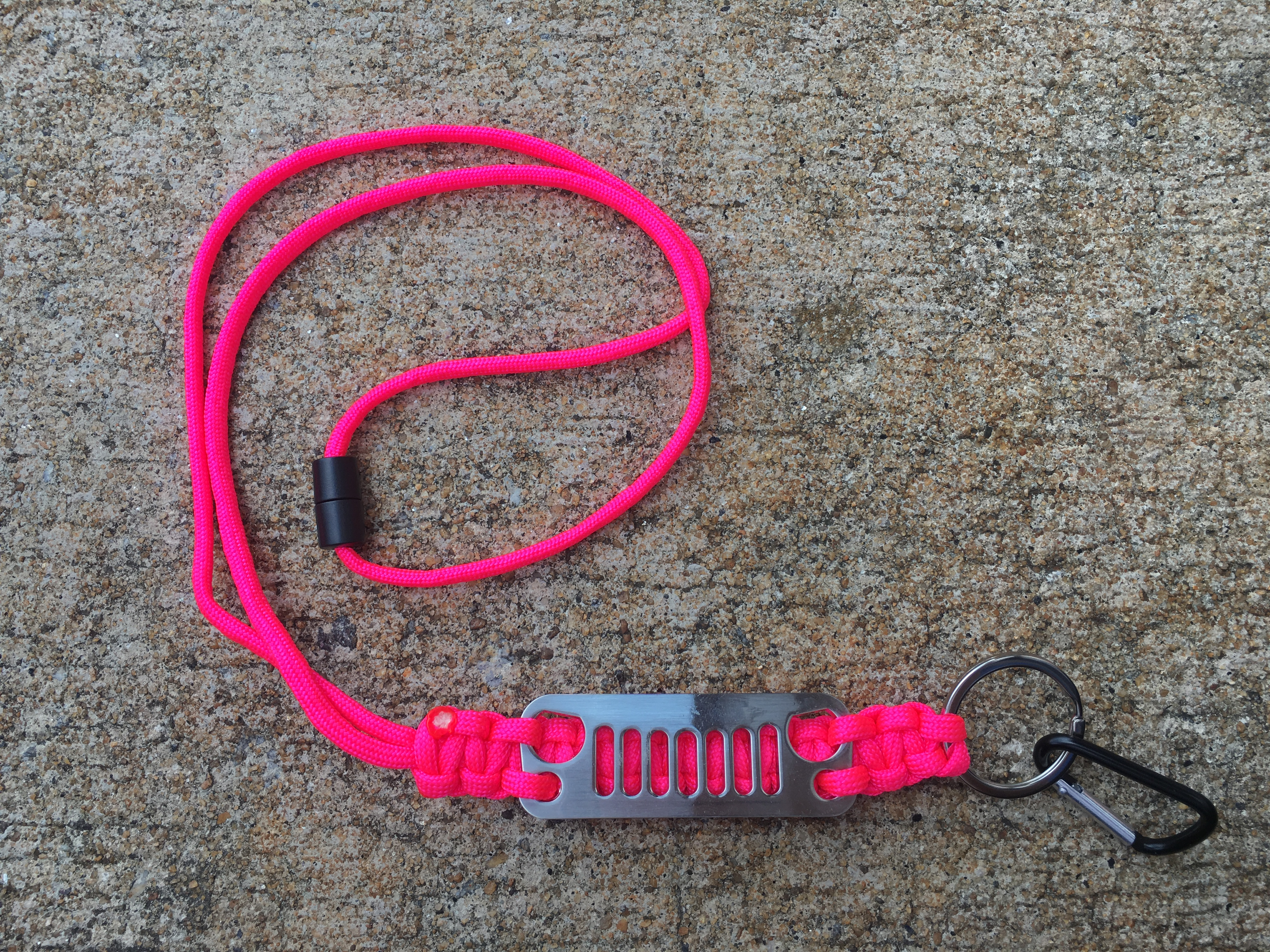 Jeep Grille Paracord Lanyard in Pink with Carabiner Clip