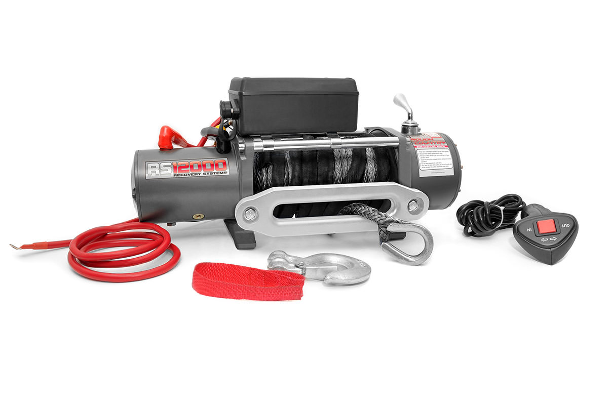 12,000-Lb Winch Recovery System with Synthetic Rope<br>Fits: All Standard Winch Mounts with 4.5-by-10-inch 4 Bolt Pattern