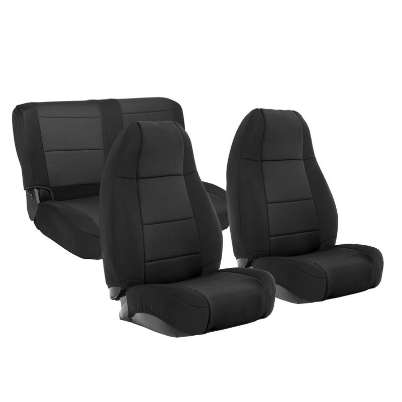 NEOPRENE SEAT COVER SET FRONT/REAR - BLACK 76-90 CJ/YJ