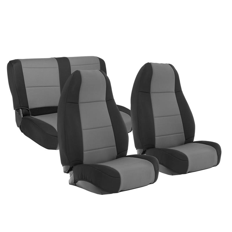 NEOPRENE SEAT COVER SET FRONT/REAR - CHARCOAL 76-90 CJ/YJ