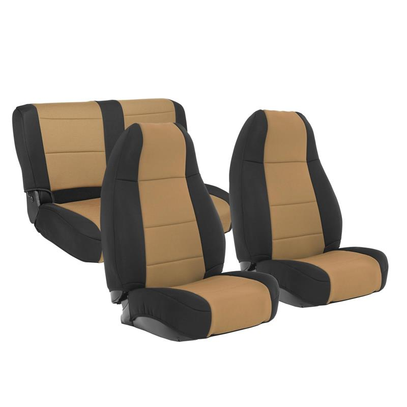 NEOPRENE SEAT COVER SET FRONT/REAR - TAN 76-90 CJ/YJ