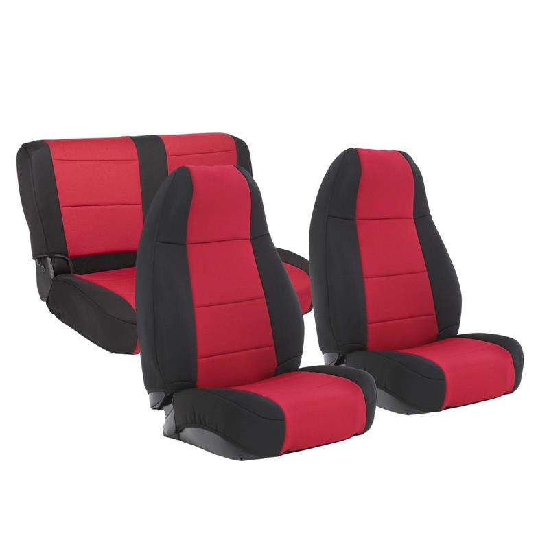 NEOPRENE SEAT COVER SET FRONT/REAR - RED 76-90 CJ/YJ