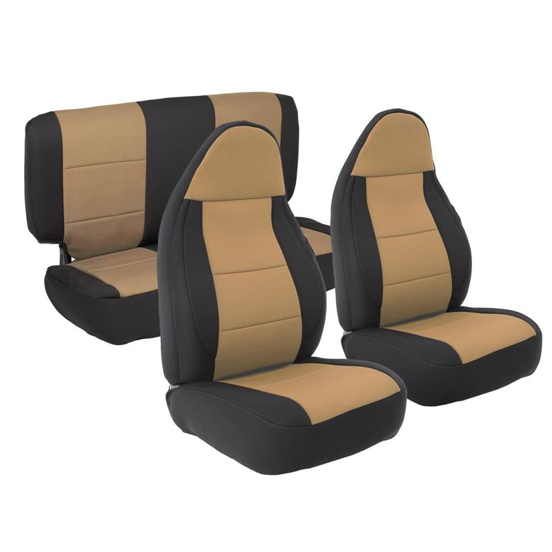 NEOPRENE SEAT COVER SET FRONT/REAR - TAN 97-02 TJ