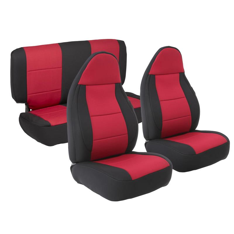 NEOPRENE SEAT COVER SET FRONT/REAR - RED 97-02 TJ