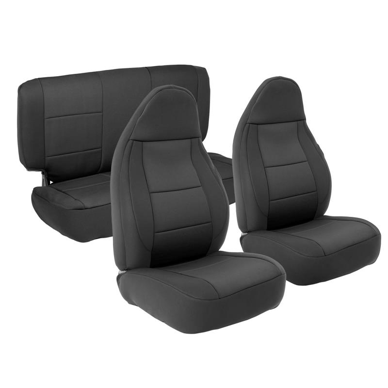 NEOPRENE SEAT COVER SET FRONT/REAR - BLACK 03-06 TJ