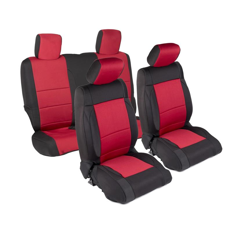 NEOPRENE SEAT COVER SET FRONT/REAR - RED 13-18 JK 2DR