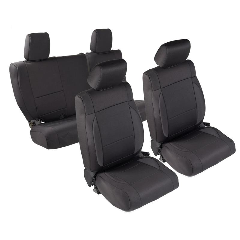NEOPRENE SEAT COVER SET FRONT/REAR - BLACK 07 JK 4DR