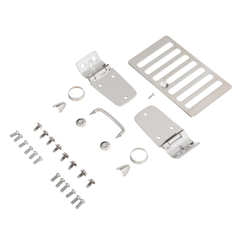 Complete Hood Kit - Includes; Hood Hinges, Windshield Tie Downs, Hood Vent, Footman Loop, - Stainless Steel