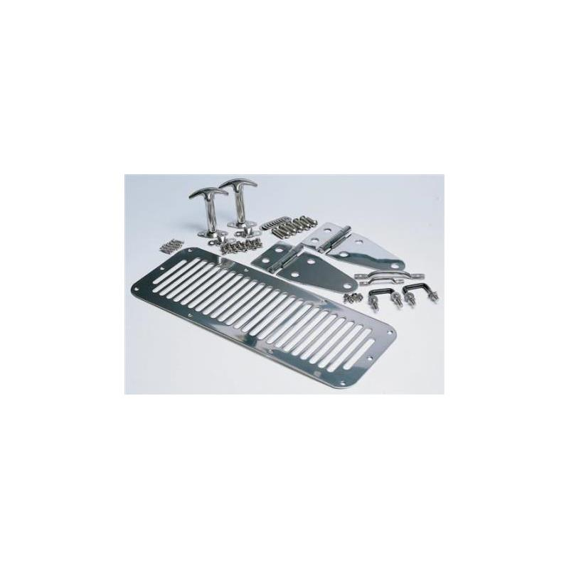Complete Hood Kit - Includes; Hood Hinges, Windshield Tie Downs, Hood Vent, Footman Loop, Hood Catches - Stainless Steel