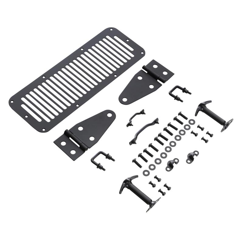 Complete Hood Kit - Includes; Hood Hinges, Windshield Tie Downs, Hood Vent, Footman Loop, Hood Catches - Black