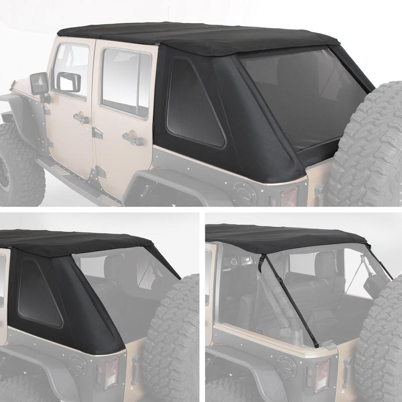 Bowless Combo Top Kit W/Tinted Windows - Black Diamond Jeep, 07-18 Wrangler (JK) 4 Door