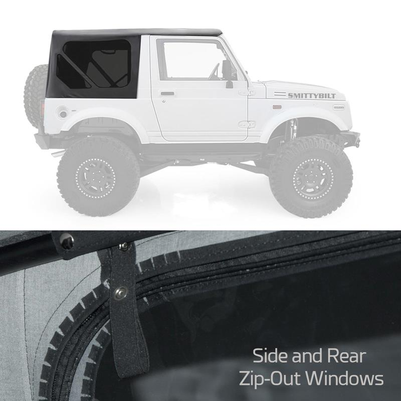 Oem Repl Soft Top Black W/Zip Out Windows