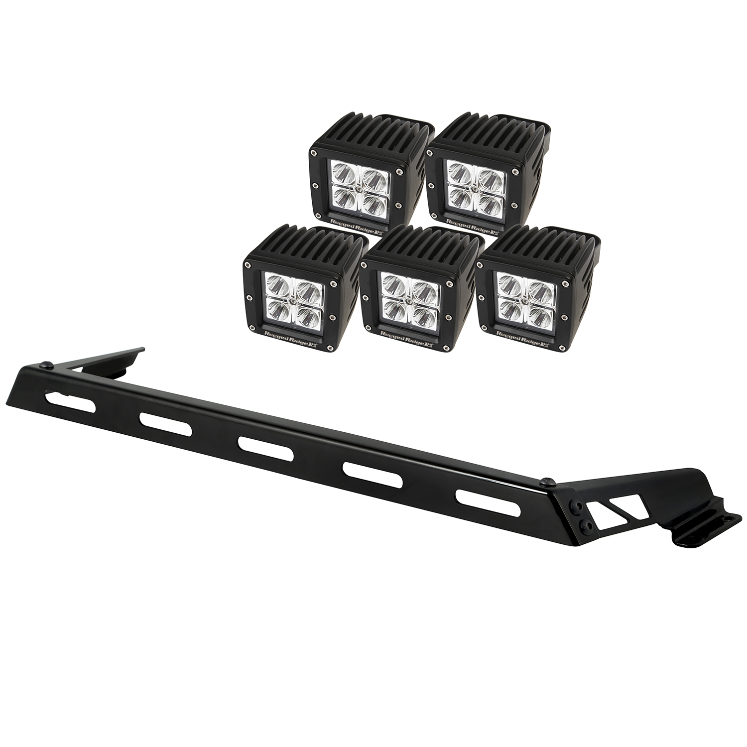 Light Bar Kit Hood Mounted 5 Square 07-18 Jeep Wrangler JK