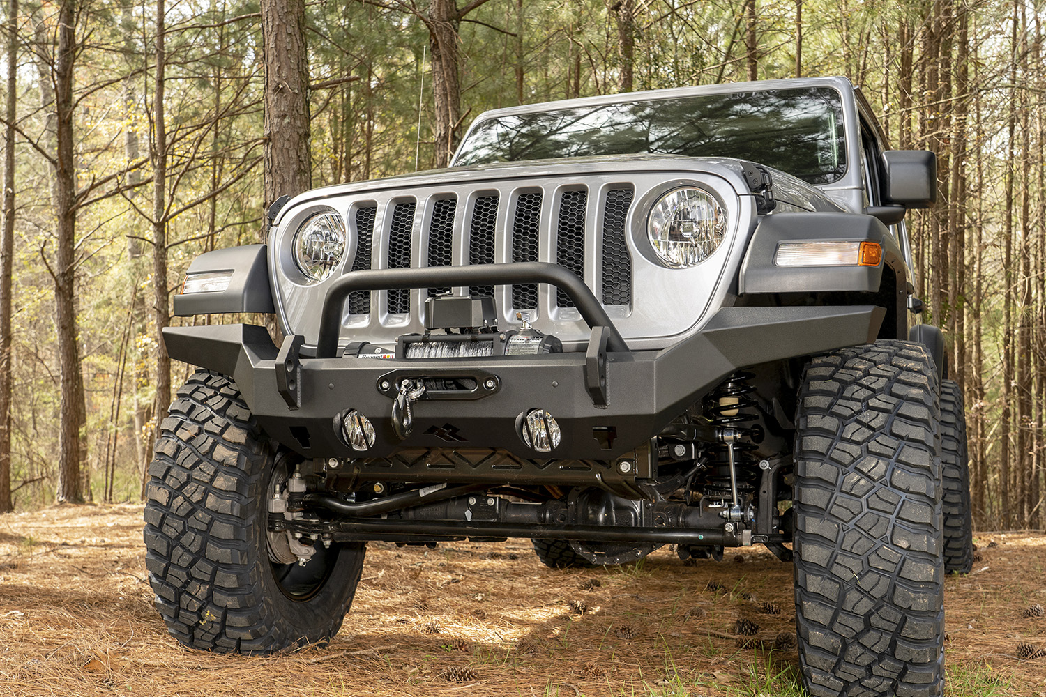 HD Bumper Full Width Front 07-18 Wrangler JK 18-19 Wrangler JL 2020 Gladiator JT Get two FREE Round LED lights (15209.01) with new HD Bumper for JL