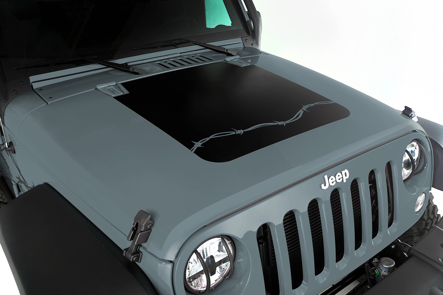 Hood Decal Barbed Wire 07-18 Jeep Wrangler JK