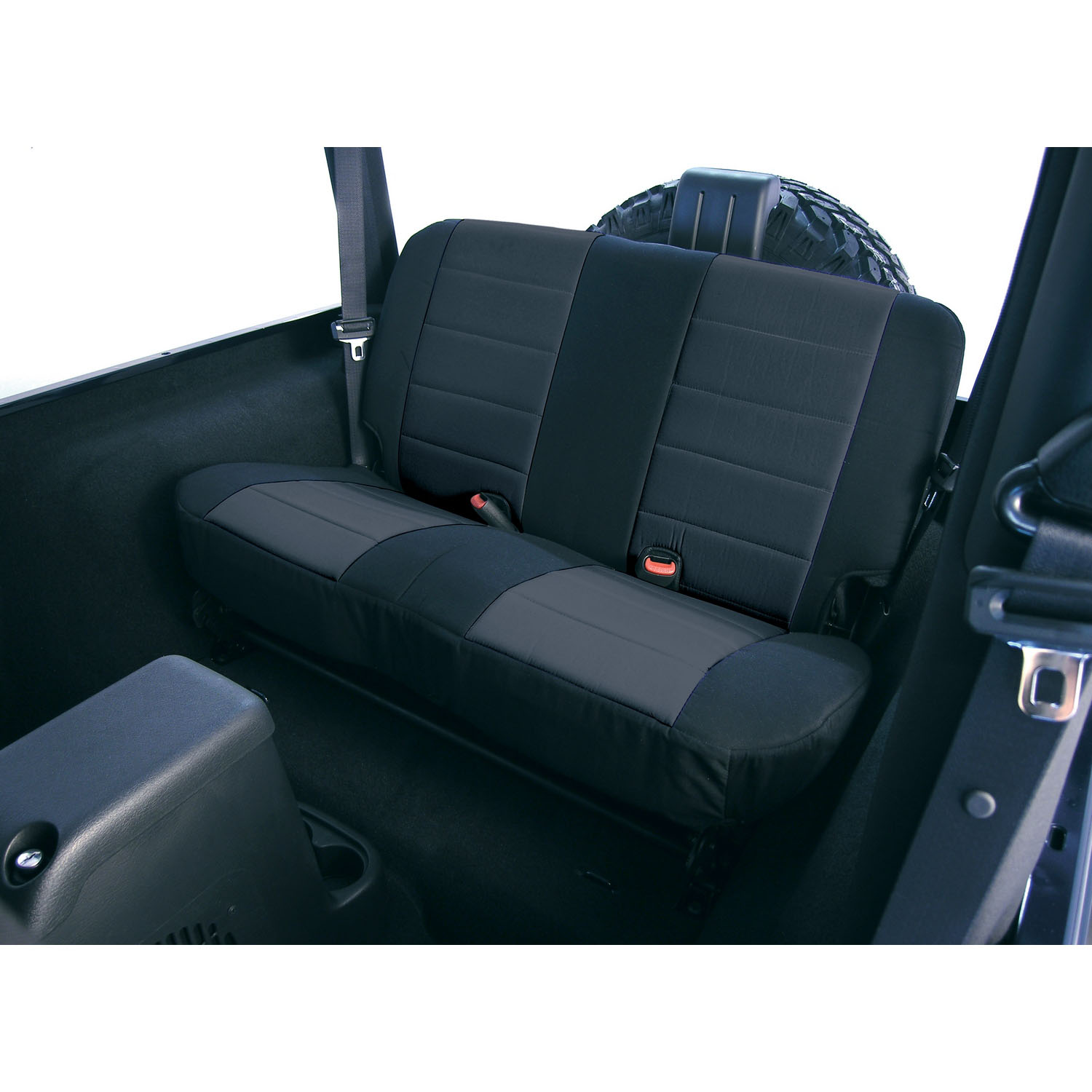 Seat Cover Kit Rear Fabric Black 80-95 Jeep CJ/Wrangler YJ