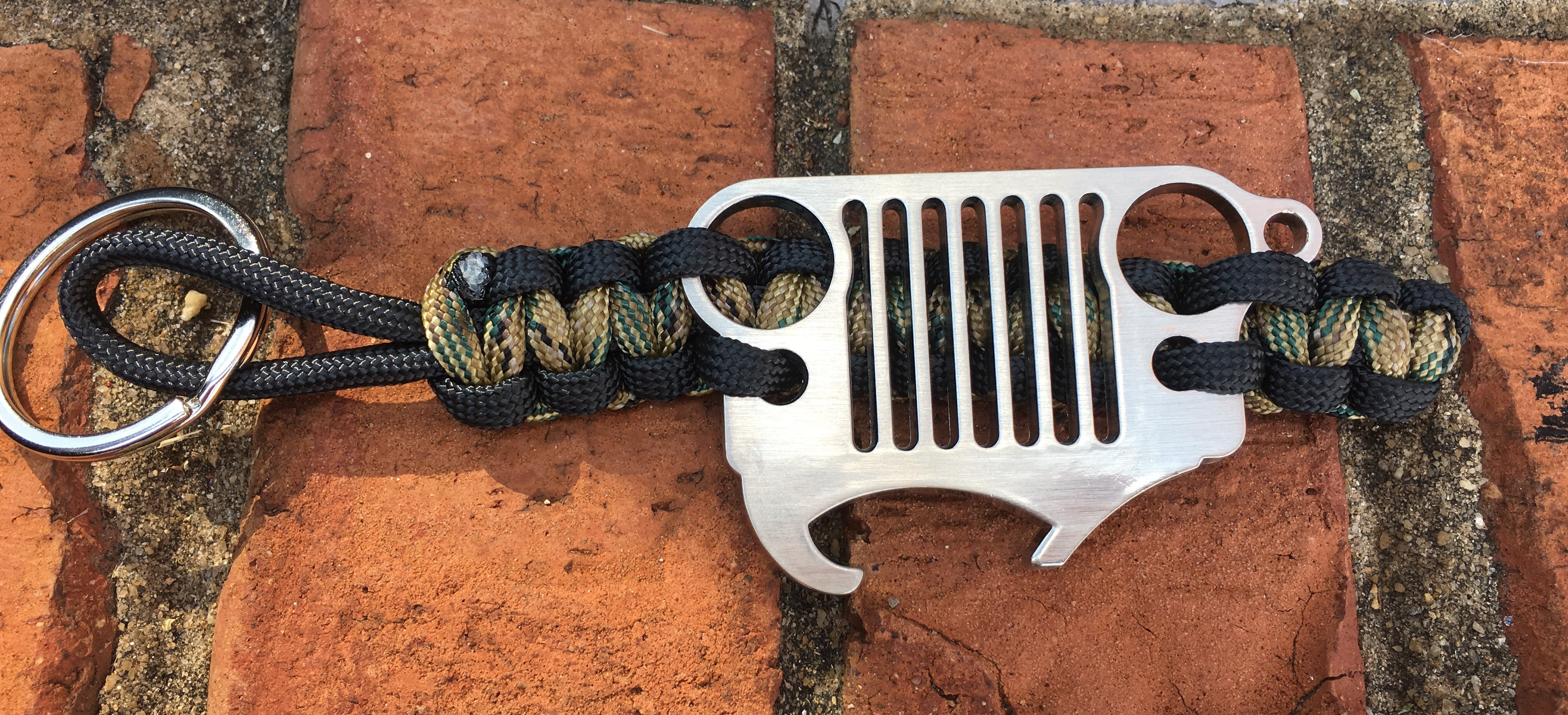 Jeep Grille Paracord Keychain in Camo and Black with Bottle Opener Grille