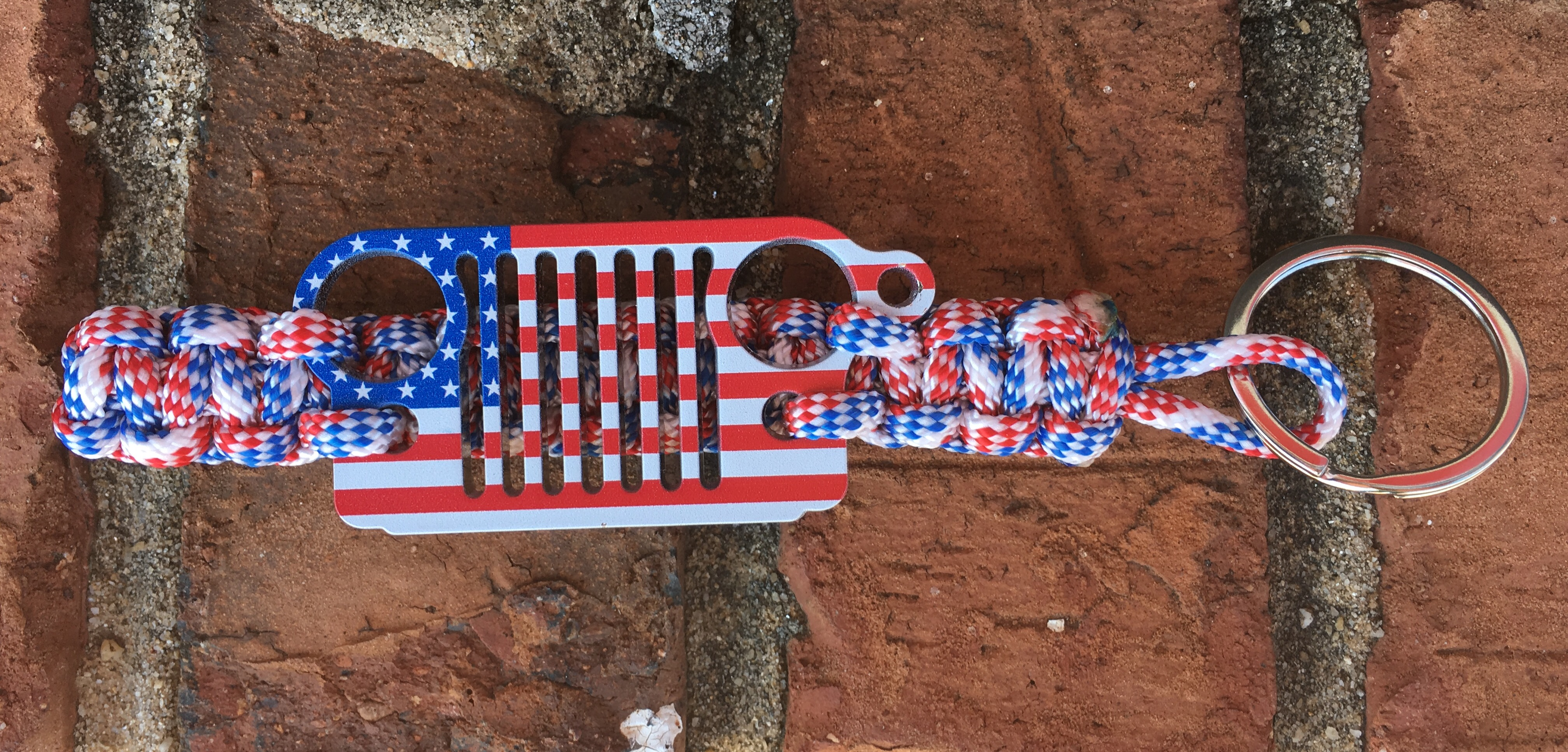 Jeep Grille Paracord Keychain in Red White and Blue with Flag Grille