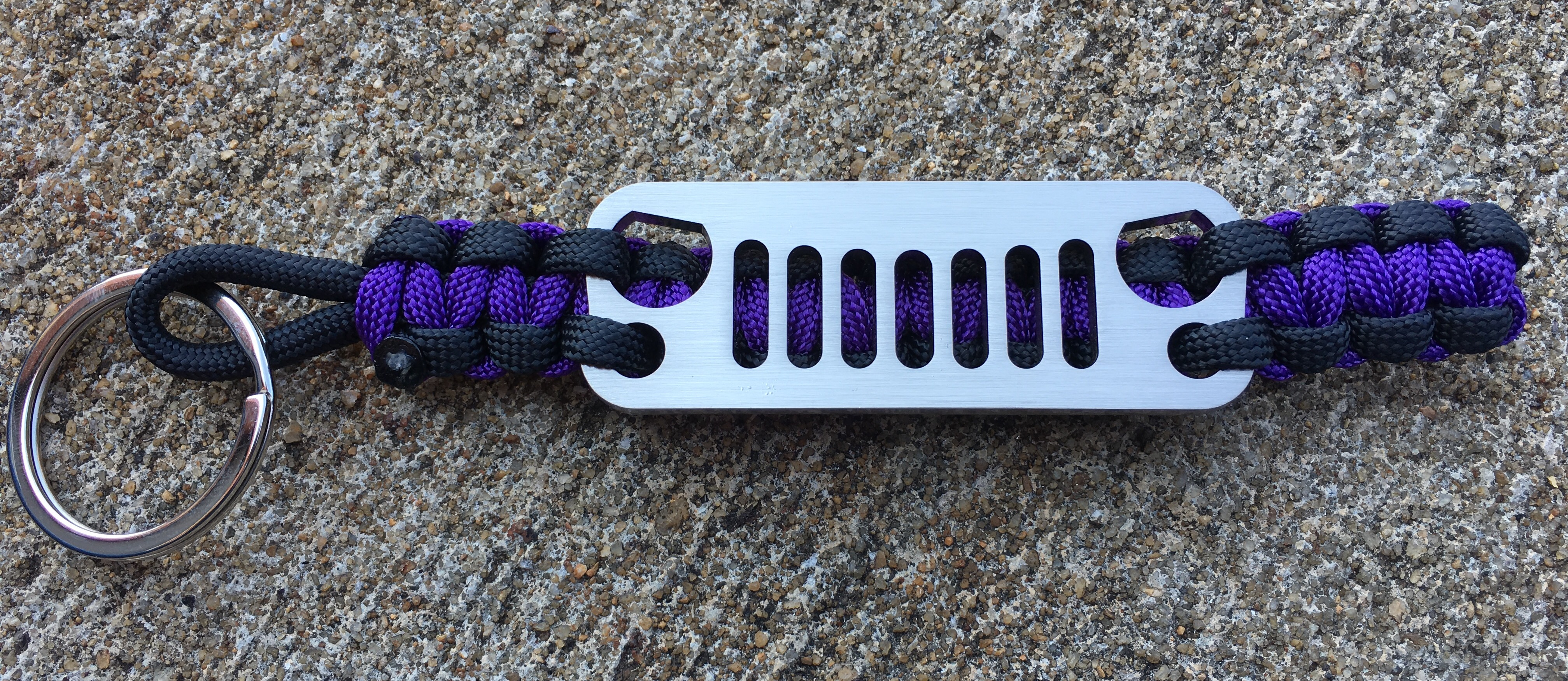 Jeep Grille Paracord Keychain in Purple and Black
