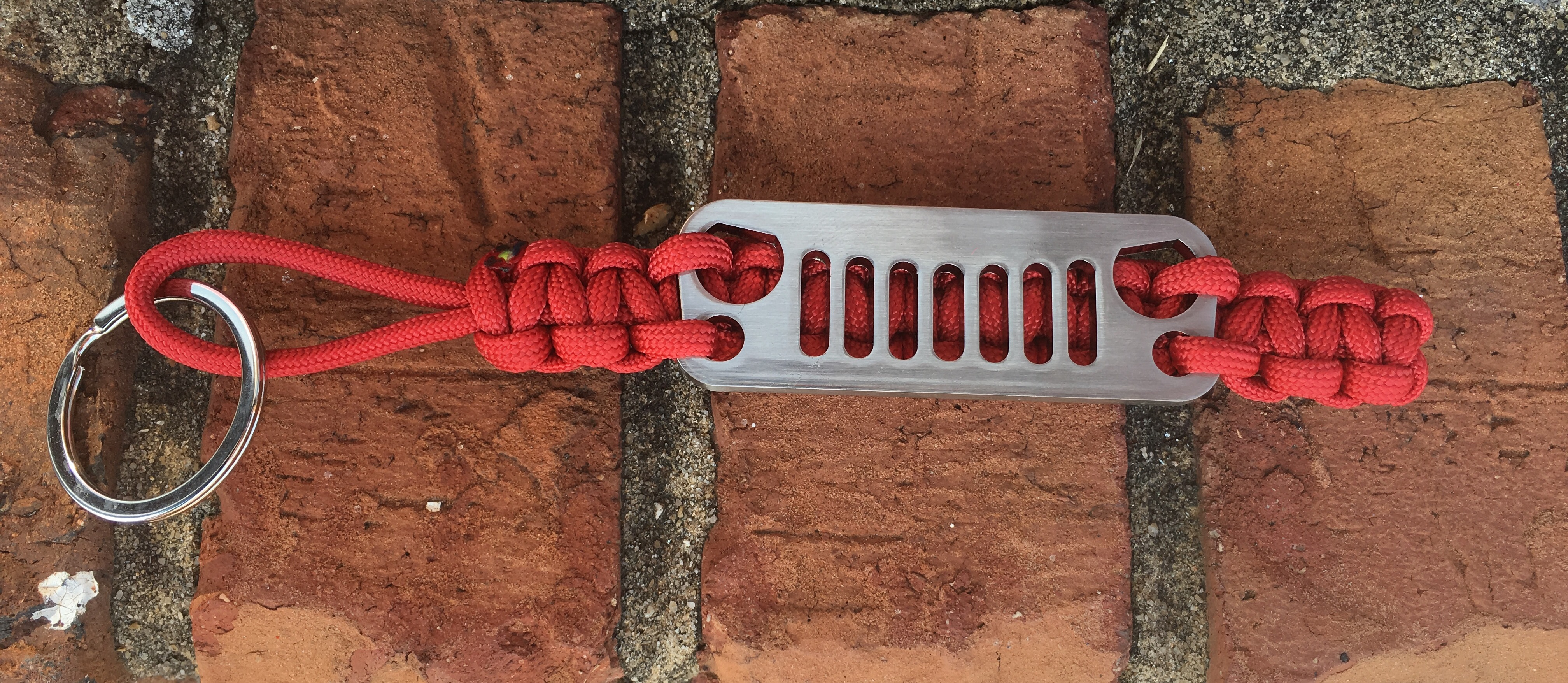 Jeep Grille Paracord Keychain in Red