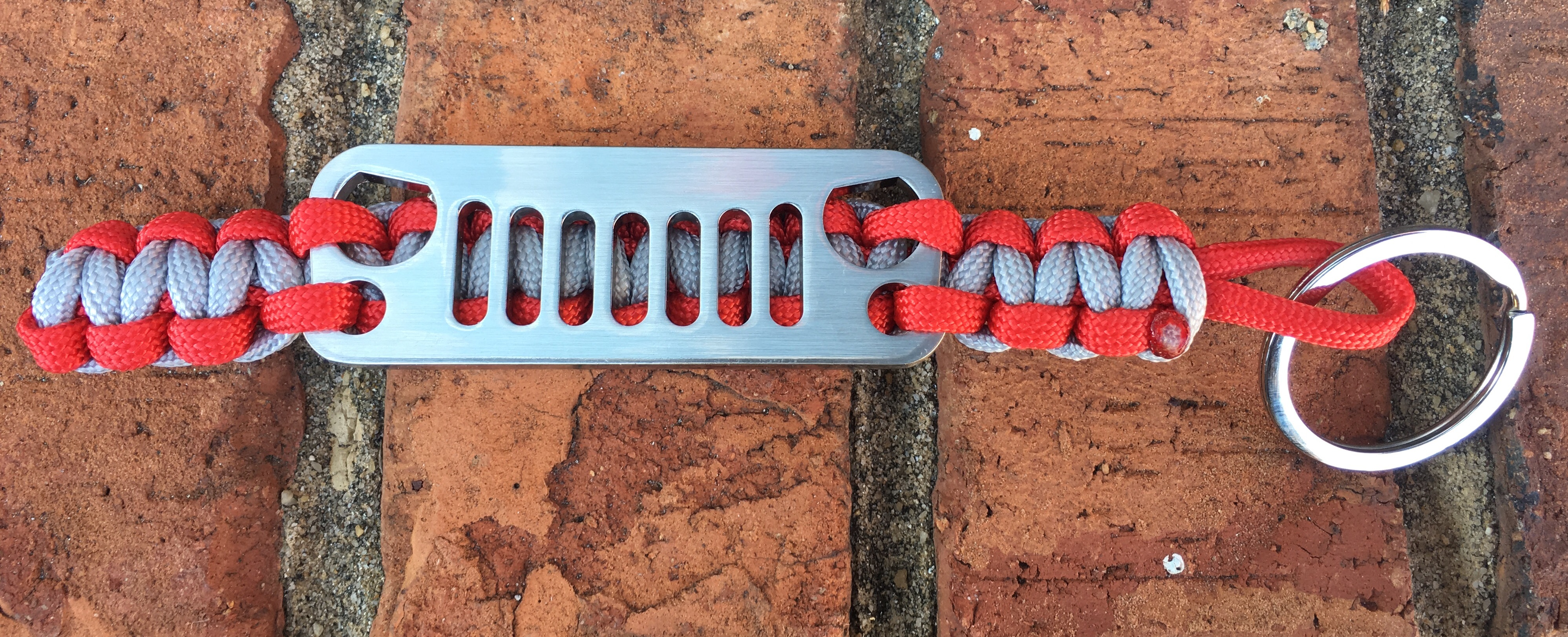 Jeep Grille Paracord Keychain in Red and Silver