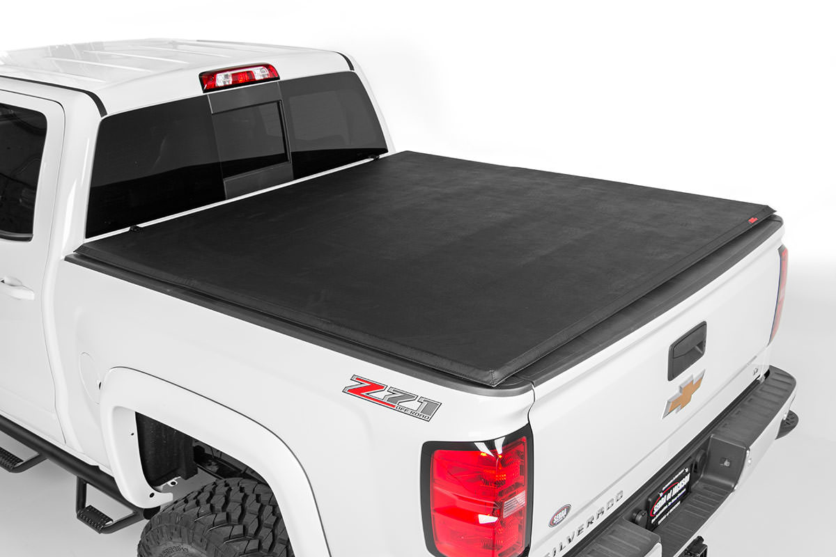 Soft Tri-Fold Tonneau Bed Cover (5.5-foot Bed w/o Cargo Management System)<br>Fits: Chevrolet: 07-13 Silverado 1500 4WD/2WD; GMC: 07-13 Sierra 1500 4WD/2WD