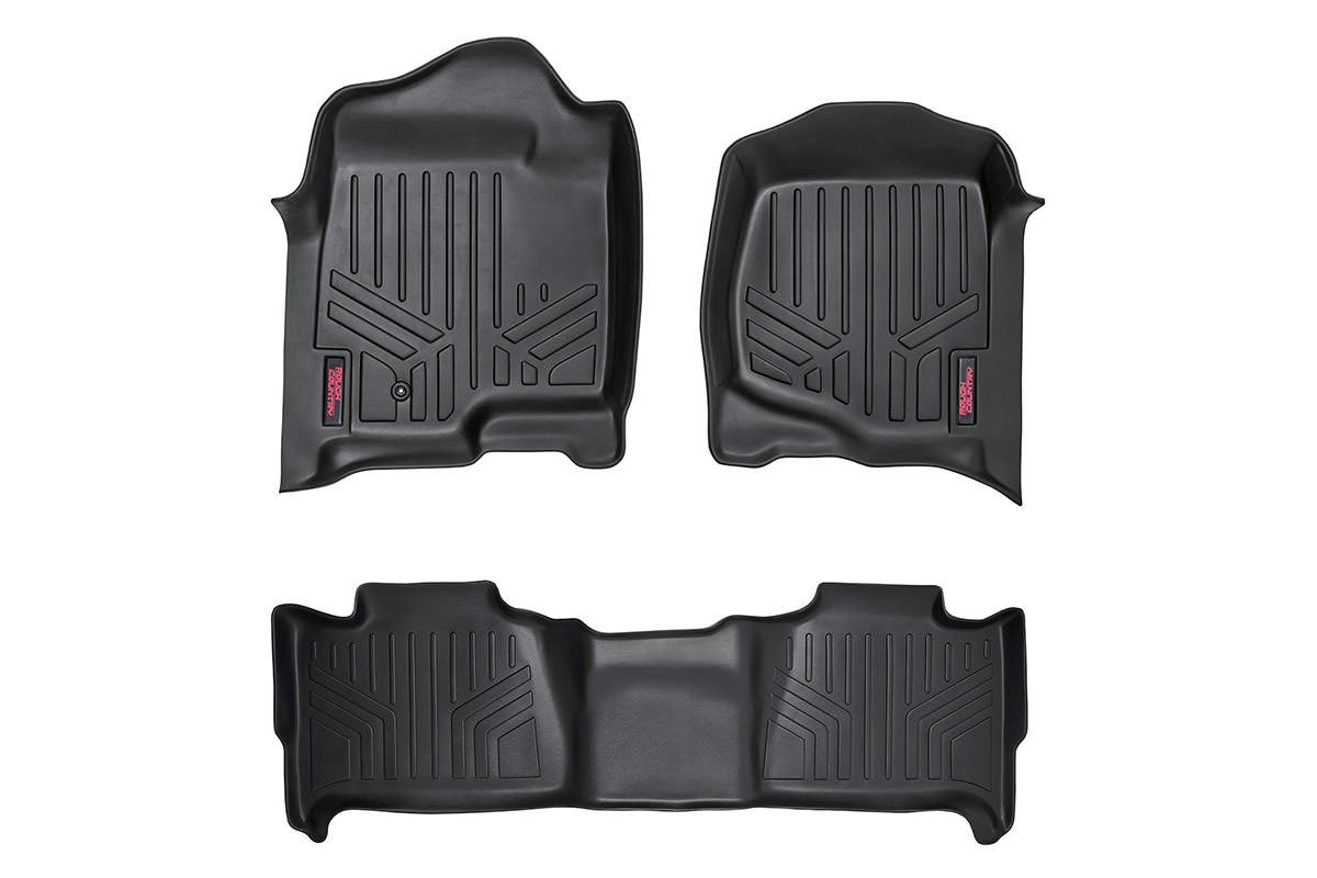 Heavy Duty Floor Mats - Front & Rear Combo (Extended Cab Models)<br>Fits: Chevrolet: 07-13 Silverado 1500 4WD/2WD 07-14 Silverado 2500 HD 4WD/2WD 07-14 Silverado 3500 HD 4WD/2WD; GMC: 07-13 Sierra 1500 4WD/2WD 07-14 Sierra 2500 HD 4WD/2WD 07-14 Sierra 350