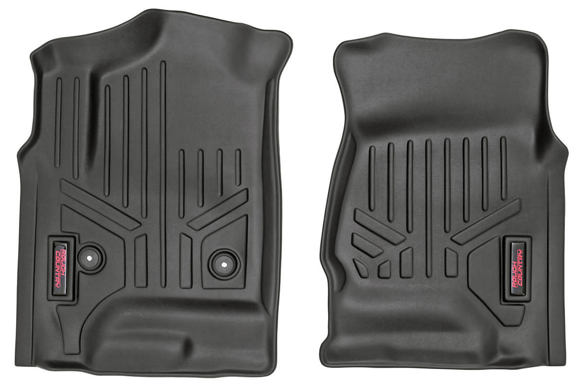 Heavy Duty Floor Mats - Front Set<br>Fits: Chevrolet: 14-17 Silverado 1500 4WD/2WD 14-16 Silverado 2500 HD 4WD/2WD 14-16 Silverado 3500 HD 4WD/2WD; GMC: 14-16 Sierra 1500 4WD/2WD 14-16 Sierra 2500 HD 4WD/2WD 14-16 Sierra 3500 HD 4WD/2WD