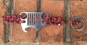Jeep Grille Paracord Keychain in Red and Black with Bottle Opener Grille